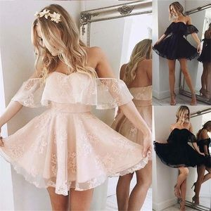 Pink off shoulder dress homecoming party cocktail